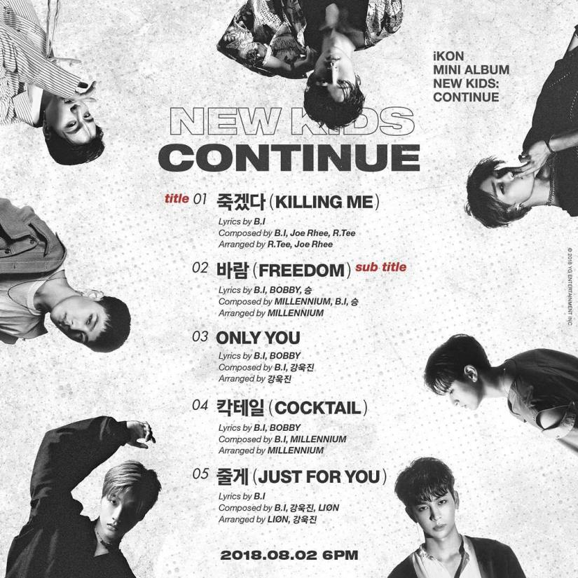iKON reveals the track list for the upcoming mini album New Kids:Continue